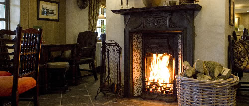 fireplace in a pub