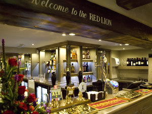 the bar at the Red Lion pub